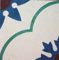 Piastrella in cemento encausto per uso esterno / motivi floreali / opaca / fatta a mano