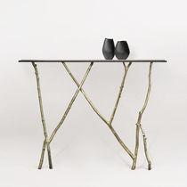 Tavolo console / design organico / in vetro / in bronzo