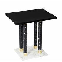 Tavolo d'appoggio moderno / in marmo / in ottone / rettangolare