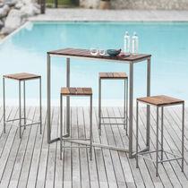 Sgabello da bar moderno / in legno oliato / in acciaio inossidabile / per uso contract
