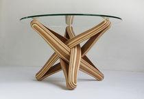 Tavolino basso design originale / in bambù / in vetro temprato / rotondo