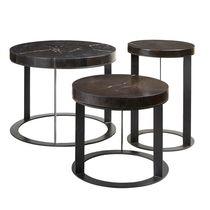 Tavolino basso moderno / in legno fossilizzato / rotondo / da interno