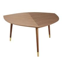 Tavolino estraibile moderno / in noce / in ottone / triangolare