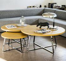 Tavolino basso moderno / in metallo / in pelle / rotondo