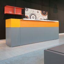 Banco reception d'angolo / in legno / in vetro / in melamminico