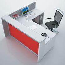 Banco reception d'angolo / in legno / in alluminio anodizzato / in PMMA