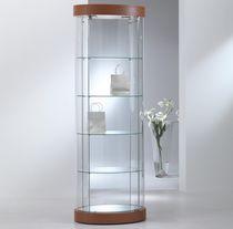 Vetrina moderna / con piede / in vetro / illuminata