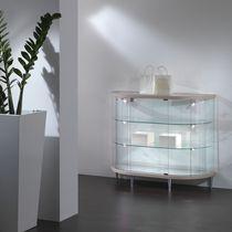 Vetrina moderna / con piede / in vetro / in quercia