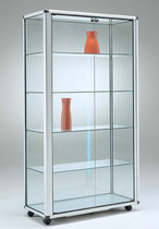 Vetrina moderna / con piede / in vetro / in alluminio