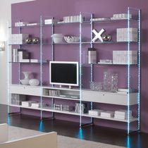 Parete attrezzata TV moderno / in legno / in vetro / modulabile