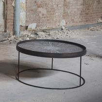 Tavolino basso moderno / in metallo / rotondo / da interno