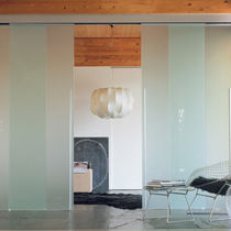 Porta da interni / scorrevole / in vetro / doppia