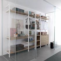 Cabina armadio da parete / moderna / in legno / in vetro