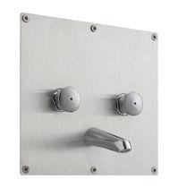 Miscelatore doppio comando per lavabo / da parete / in acciaio inossidabile / temporizzato