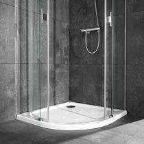 Piatto doccia d'angolo / in porcellana / ultrapiatto / antiscivolo