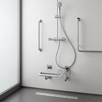 Sedile per doccia ribaltabile / in acciaio inox / da parete