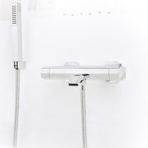 Miscelatore doppio comando per vasca / per doccia / da parete / in metallo cromato