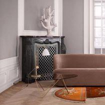 Tavolino basso moderno / in vetro / in acciaio / triangolare