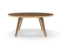 Tavolino basso moderno / in noce / in compensato stampato / rotondo