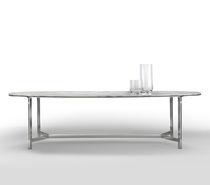Tavolo da pranzo moderno / in metallo / in marmo / ovale