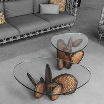 Tavolino basso design originale / in vetro / in acciaio / in rame