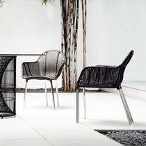 Sedia moderna / con braccioli / in alluminio / in acciaio inossidabile