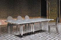 Tavolo moderno / in vetro temprato / in acciaio cromato / in marmo