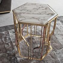 Tavolo d'appoggio moderno / in metallo / in pelle / in marmo