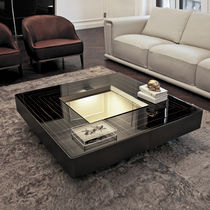 Tavolino basso moderno / in metallo / in pelle / in noce
