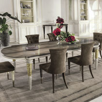 Tavolo da pranzo moderno / in metallo / in pelle / in marmo
