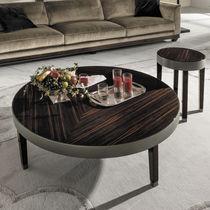 Tavolino basso moderno / in metallo / in noce / impiallacciato in legno