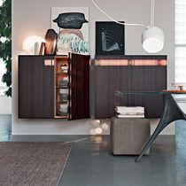Parete attrezzata per soggiorno moderna / in legno / in vetro / in alluminio