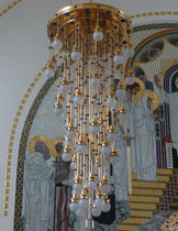 Lampadario classico / in vetro / in ottone / di Koloman Moser