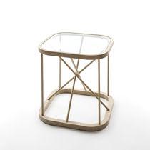 Comodino moderno / in vetro / in quercia / quadrato