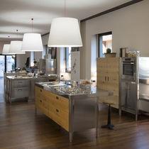 Cucina moderna / impiallacciata in legno / in quercia / in acciaio inox