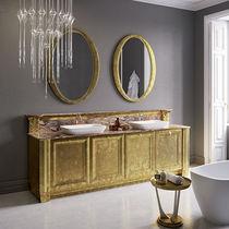 Mobile lavabo doppio / da appoggio / in legno / in marmo