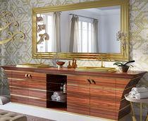 Mobile lavabo doppio / da appoggio / in legno / in vetro