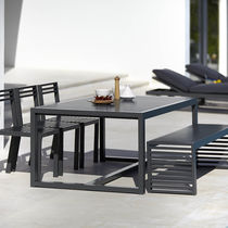Tavolo da pranzo moderno / in alluminio termolaccato / rettangolare / da esterno
