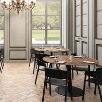 Tavolo da bistrot moderno / in noce / in MDF / impiallacciato in legno