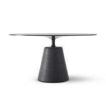 Tavolo da pranzo moderno / in vetro temprato / in cemento / rotondo