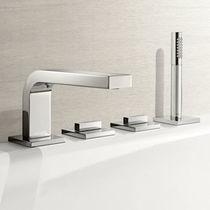 Miscelatore doppio comando per vasca / da bancone / in metallo cromato / da bagno