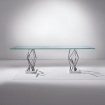 Tavolo moderno / in vetro / rettangolare / trasparente