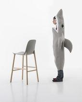 Sedia alta moderna / in legno / in alluminio / da esterno