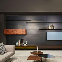 Parete attrezzata per soggiorno moderna / in acciaio / in legno