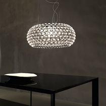 Lampada a sospensione / moderna / in metallo cromato / in vetro soffiato