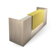 Banco reception d'angolo / in legno / luminoso