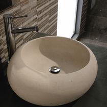 Lavabo da appoggio / rotondo / in pietra naturale / moderno
