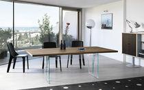 Tavolo moderno / in legno / in vetro / rettangolare