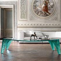 Tavolino basso moderno / in vetro / in vetro curvato / curvo