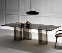 Tavolo da pranzo moderno / in vetro / in vetro curvato / rettangolare